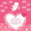 Valentines day angel with bow flyer — Vector de stock