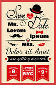 Wedding invitation card in hipster style — Stock Vector