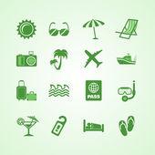 Set d'icônes vertes vacances voyage — Vecteur