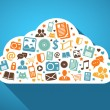 Multimedia and mobile apps in the cloud — Stock Vector