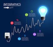 Creative light bulb growing chart graph — Stock Vector