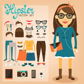 Hipster character pack for geek girl — Stock Vector