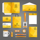 Yellow geometric technology business stationery template — Stock Vector