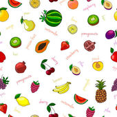 Fresh fruits seamless pattern — Stockvector