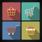 Internet shopping carts and baskets — Stock Vector