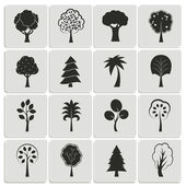 Yeşil orman ağaçları tasarım öğeleri — Stok Vektör