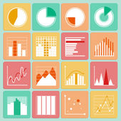 Icons set of business presentation charts and graphs — Stock Vector
