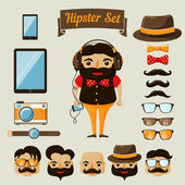 Hipster character elements for nerd boy — Stock Vector