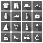 Clothes accessories shoes icons set — Stock Vector
