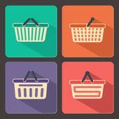 Set of shopping carts and baskets icons — Stock Vector