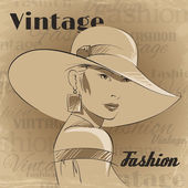 Retro poster of fashion young woman — Stock Vector