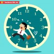 Worried executive running against the time — Stock Vector