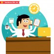 Stock Vector: Multitasking and multipurpose businessman