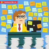 Hard work in progress, paperwork piles around — Stock Vector