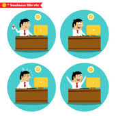Office worker at the desk — Stock Vector