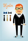 Hipster character pack for business man — Stock Vector