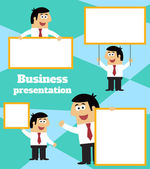 Businessman with blank sign banner and placard — Vector de stock