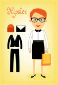 Hipster character elements for business woman — Stock Vector