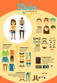 Hipster infographics with fashion design elements — Stock Vector