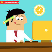 Manager working diligently on the computer — Stock Vector