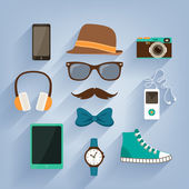 Hipster accessories items set — Stock Vector