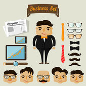 Hipster character elements for business man — Stock Vector