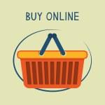 Buy online shopping basket emblem — Stock Vector