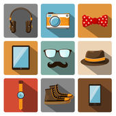 Hipster accessories pictograms set — Stock Vector