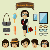 Hipster character pack for business woman — Stock Vector