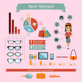 Hipster infographics element med geek girl — 图库矢量图片
