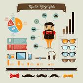 Elementi di infografica hipster con ragazzo geek — Vettoriale Stock