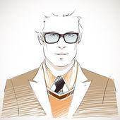 Handsome young businessman portrait — Stock Vector
