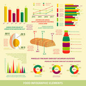 Food infographics flat design elements — Vector de stock