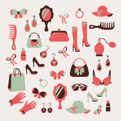 Woman accessories icons set — Stock Vector