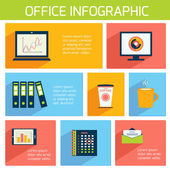 Office infographics flat business template — Stock Vector