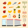 Collection of supermarket food items — Vector de stock