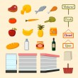 Collection of supermarket food items — Stockvector