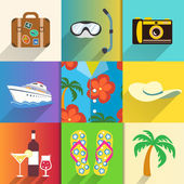 Travel and vacation icons set — Stock Vector