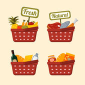 Shopping basket set with foods — Stock Vector