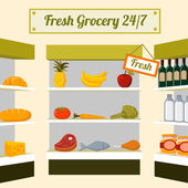 Fresh grocery foods on store shelves — Stock Vector