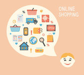 Online shopping innovation idea — Stock Vector