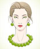 Portrait élégant jeune mannequin avec perles vertes — Vecteur