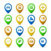 Navigation pins set — Stock Vector