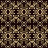 Horizontal yellow on brown ornamental seamless — Vector de stock