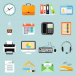 Business office stationery icons set — Stock Vector