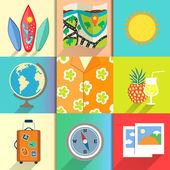 Reisen und ferien-symbole-satz — Stockvektor