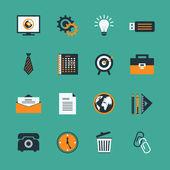 Conjunto de ícones do negócio escritório papelaria — Vetor de Stock