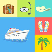 Vacation holidays and travel icons set — Stock Vector
