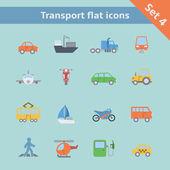 Transportation flat icons set — Stock Vector