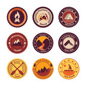Outdoors tourism camping flat badges — Stock Vector